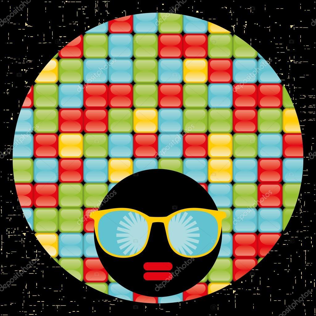 她头发上的奇怪图案的黑色头女人.矢量插画– 图库插图