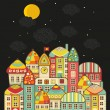 Cute night town. — Stock Vector