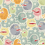 Cute monsters seamless texture with stars. — Stock Vector