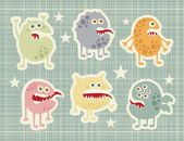 Cute monsters set in retro style. — Stock Vector