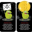 Cute monster with dollar coin and e-mail. — Stock Vector