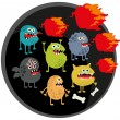 Cool monsters with fire. — Stock Vector