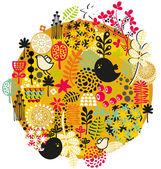 Ptaków, kwiatów i innych natura. — Wektor stockowy