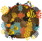 Bees and flowers. — Stock Vector