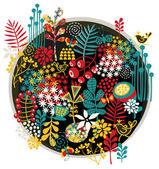Uccelli e fiori stampa. — Vettoriale Stock