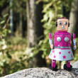 Girl robot in the forest. — Stock Photo