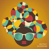 Black head woman with strange hair. — Stock Vector
