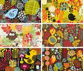 шесть карт с птицы и цветы. — Cтоковый вектор