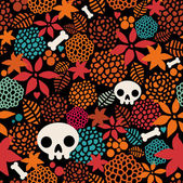 Big skulls and flowers seamless background. — Stock Vector