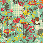 Beautiful seamless pattern with cute birds. — Stock Vector