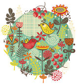 Birds, flowers and other nature. — Stock Vector