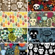 Skulls and flowers cards. — Stockvectorbeeld