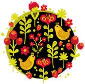 Oiseaux, fleurs et autre nature. — Vecteur