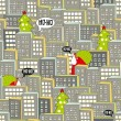 Christmas city seamless pattern. — Stock Vector