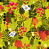 Seamless pattern with bird in the forest. — Stock Vector