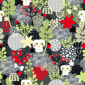 Seamless pattern with nature and skulls. — Stock Vector