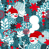 Seamless pattern with snowman and flowers. — Stockvector