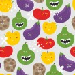 Crazy fruits and vegetables seamless pattern. — Stock Vector