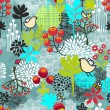 Seamless pattern with birds and flowers. — Stockvector