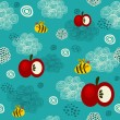 Bee and apple seamless texture. — Stock Vector