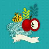 Bee and apple. — Stock Vector