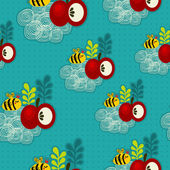 Bee and apple seamless pattern. — Stock Vector