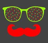 Retro solglasögon med eftertanke för hipster. — Stockvektor