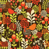 Birds and flowers seamless pattern. — Stock Vector