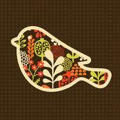 Pájaro con flores. — Vector de stock
