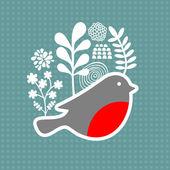 Fågel med frysta blommor. — Stockvektor
