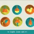 Stock Vector: Lamp icon set.