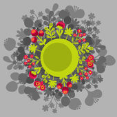 Round banner with flowers. — Vector de stock