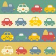 Seamless pattern with cartoon cars. — Stock Vector