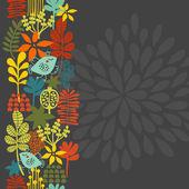 Seamless vertical pattern with bird in crown. — Vector de stock