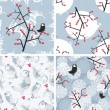 Set of seamless winter patterns with birds. — Stock Vector #42664441