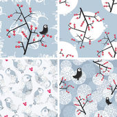 Set of seamless winter patterns with birds. — Stock Vector