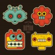 Cartoon robots and monsters faces in color. — Stock Vector