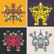 Set of colorful robots. — Stock Vector #42965665