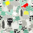 Seamless pattern with black cat hunting. — Stock Vector