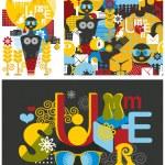 Set of summer illustrations. — Stock Vector