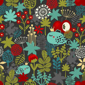 Seamless pattern with fantastic flora and fish. — Vector de stock