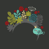 Banner redondo com flora fantástica. — Vetorial Stock