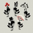 Set of strange birds with plants on their heads. — Stockvector  #43314803