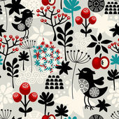Floral seamless pattern with cute birds flowers. — 图库矢量图片