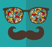 Sonnenbrillen für hipster. — Stockvektor