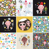 Big set of vector patterns with cute little baby. — Stock Vector