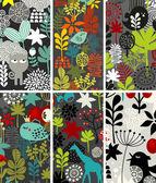 Set di carte verticali con uccelli e animali. — Vettoriale Stock