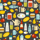 Seamless pattern with different food and drinks. — Vector de stock
