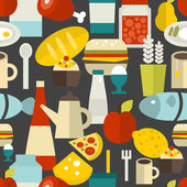 Seamless pattern with different food and drinks. — Stockvektor