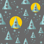 Seamless pattern with space ship. — Stock Vector